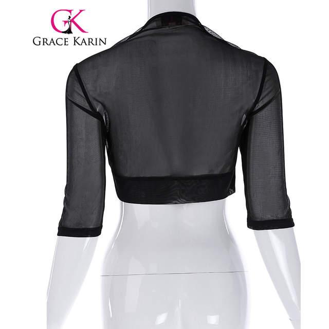 37edf4f2cbf4b placeholder Grace Karin Chiffon Bolero Wedding Accessories Bridal Wraps  Elegant Wedding Jackets Shawl Shrug Black Short Sleeve