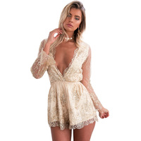 Luoanyfash Sparkling sexy jumpsuit romper Floral gold elegant jumpsuit women playsuit Backless hollow out short overalls