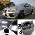 eeMrke Led DRL For Subaru WRX STi 2015 2 in 1 LED Fog Lights Lamp With Q5 Lens Daytime Running Lights