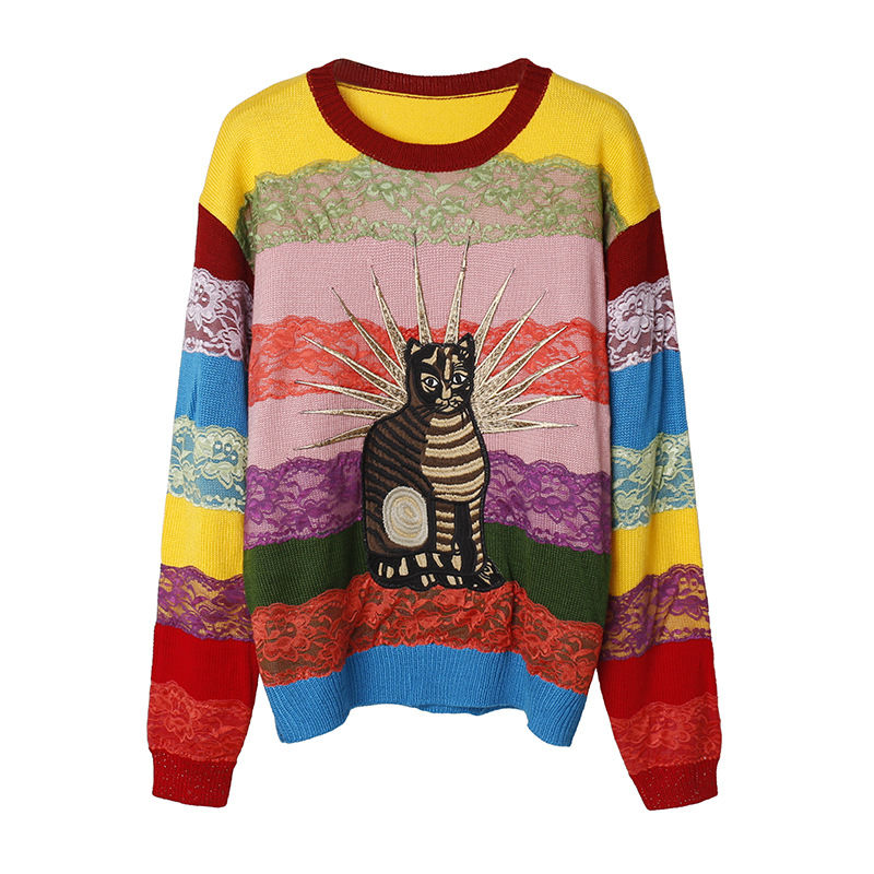 Runway Sweater Women O neck Sweaters Woman Fashion 2018 Rainbow Cat Knitted Lace Sweaters Ladies Winter Chic Pullover Top