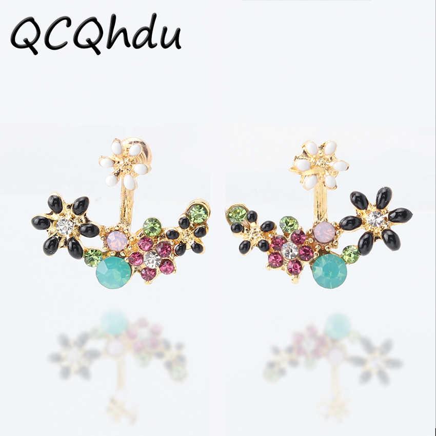 1 çift Kore Moda Taklit Kristaller Küpe Küçük Papatya Çiçekleri Sonra Asılı Çiçek Küpe kadın mücevheratı