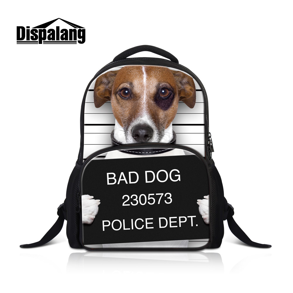 Dispalang Bad Dog Printing Laptop Backpacks For College 17 Inch Cotton School Bookbags For Girls Women's Mochila Animal Rucksack