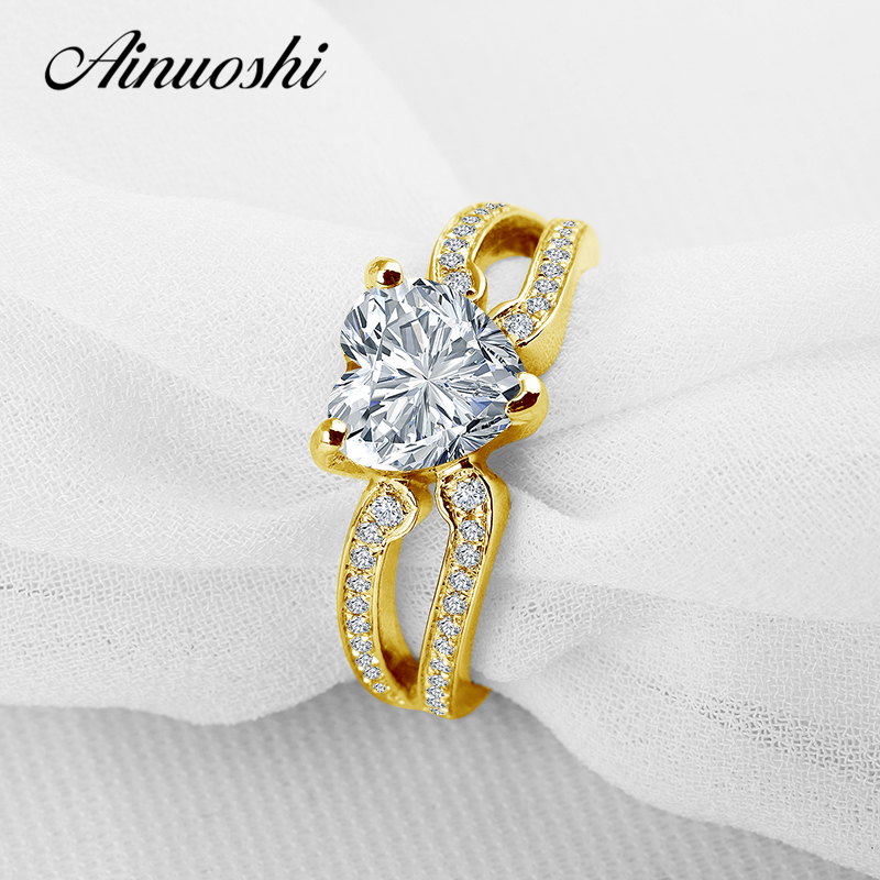 Jewelry & Accessories New Fashion Ainuoshi 10k Solid Yellow Gold Young Lady Finger Rings 1 Ct Round Cut Simulated Diamond Band 2 Rows Drill Women Wedding Ring
