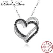 [BLACK AWN] Fine Genuine 100% 925 Sterling Silver Necklace Women Jewelry Heart Black&White Stone Pendants P107