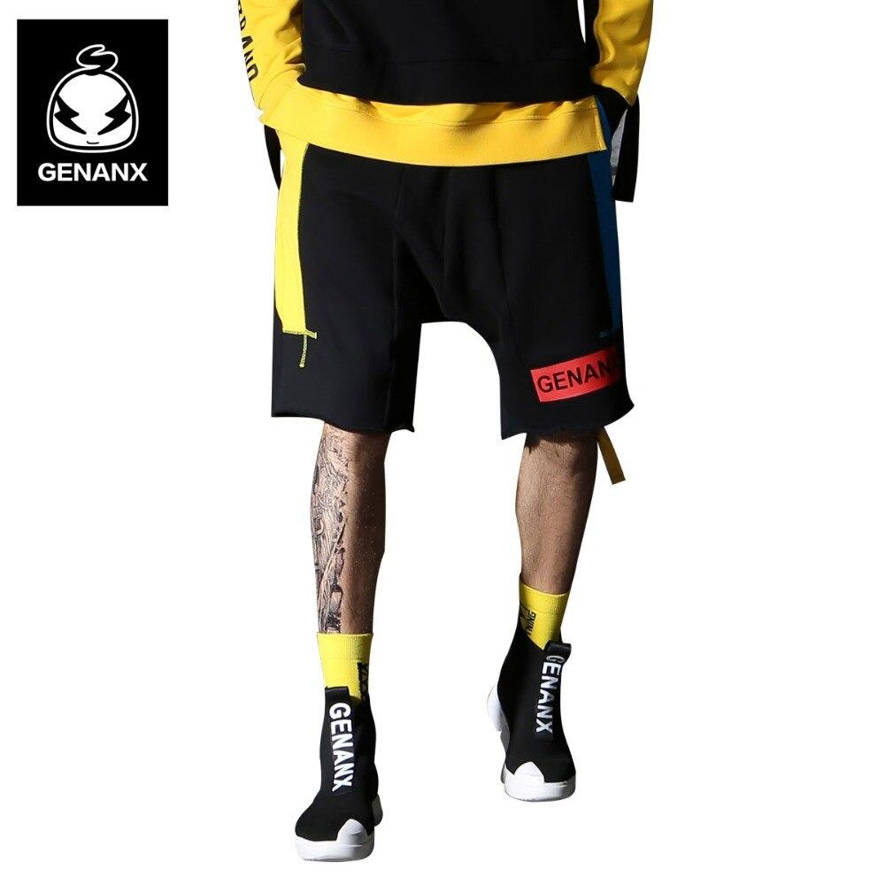 Genanx Марка High Street Хип хоп панелями лоскутное ленты свободные по колено Повседневное прямые шорты Для мужчин молодежи Размеры M XXL