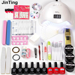 Nail art Kit for nail extensions LED Dryer 6W/48W Lamp 6pcs Polish Uv Paint gel varnish all for Nails Set for Manicure set