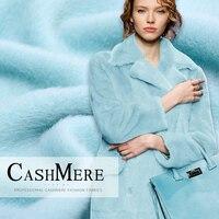 Winter Fuzzy Coat Fleece Fabric 1 Meter Wool Felt Cashmere Garment Sew Material Blue Color