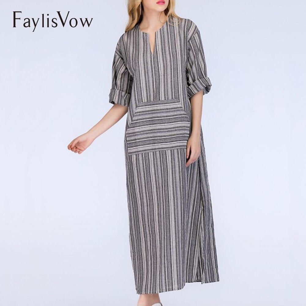 9af9a74a8ac V Neck Pocket Striped Maxi Dresses Plus Size Autumn Cotton Linen Three  Quarter Sleeve Long Dress Women Casual Loose Kaftan 5XL