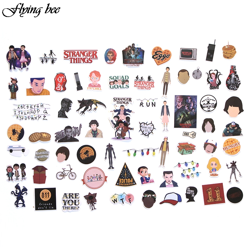 Image 2 - Flyingbee 66 pcs Stranger Things Sticker Anime Stickers for DIY Luggage Laptop Skateboard Car Motorcycle Bicycle Stickers X0005-in Stickers from Consumer Electronics