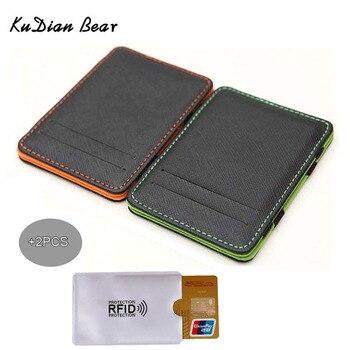 más baratas e67f2 138c1 KUDIAN BEAR Minimalista hombres billetera Rfid Slim cartera tarjeta  organizador monedero mágico carteras hombre minimalismo BID222 PM49