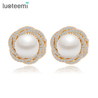 Teemi 2015 Champagne Gold Plated Pearl Earrings Uniuqe Tiny Cubic Zircon Micro Paved Women Fashion Big
