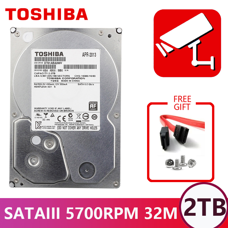 TOSHIBA DVR NVR CCTV 2TB 2000G Hard Drive Disk 2000GB HDD HD Internal SATA 3 5700RPM
