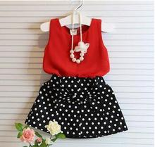 2017 Hot Girls Clothing Sets Pleated Lace Vest Two-piece Children Casual Conjunto Fashion Girls Clothes Suit Skirt 2~14age