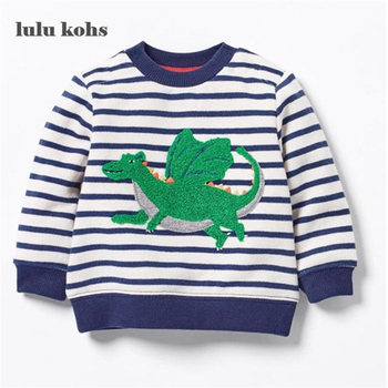 New 2017 Brand Quality 100% Terry Cotton Boys sweatshirt baby Clothes Children Clothing Dinosaur printing boys t shirts for kids