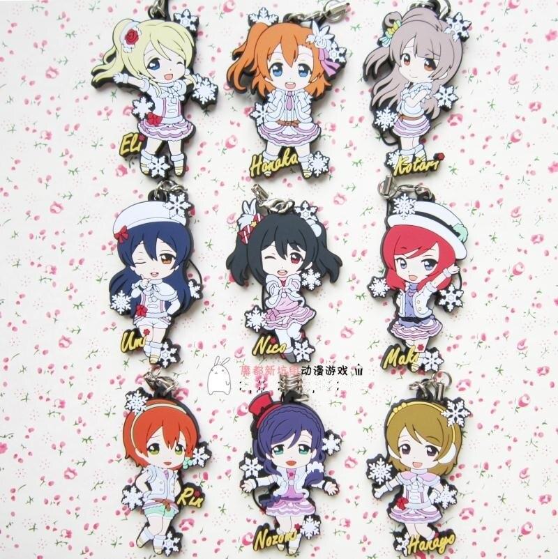 Kotori Nico Eli Rin Umi Maki Anime Love Live! Lovelive! Snow Version Rubber Keychain servamp anime vampire mahiru kuro snow lily jeje hyde food version japanese rubber keychain