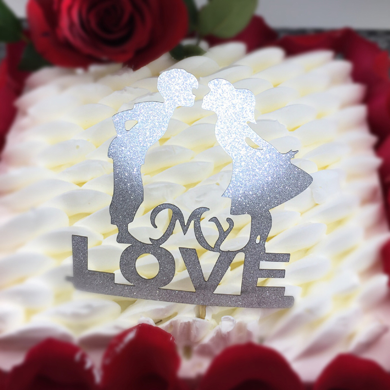 My Love Cupcake Cake Topper Heart Cake Flags Happy Birthday Wedding