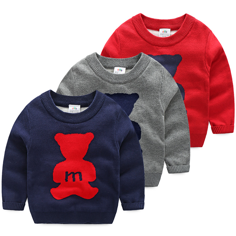 Winter Autumn Pullover Baby font b Sweater b font Boy Child Knitted Bear Print font b
