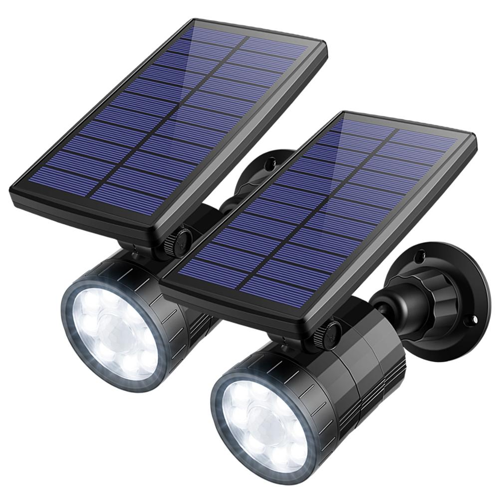 AMIR 2PCS LED Solar Spotlight Motion Sensor Lights Outdoor Night Light Waterproof Solar Security Lights Street Emergency Light