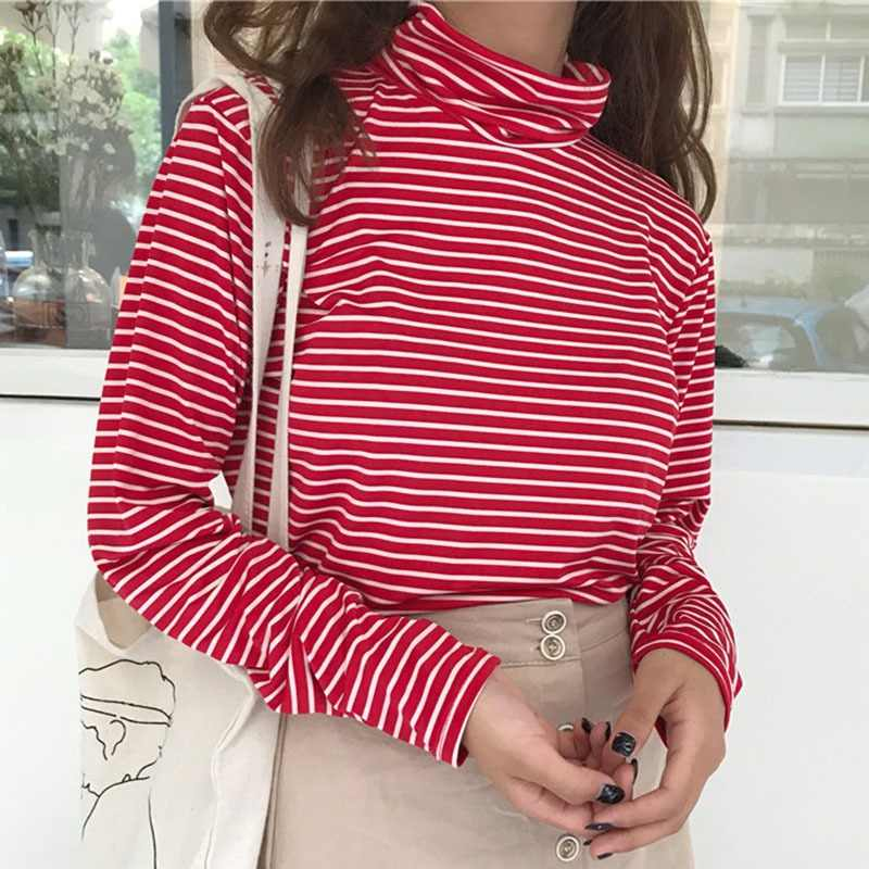 59aae7f5c Long Sleeve Shirt Women Winter Top Basic Shirt Women Red Black White Striped  T-shirt