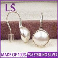 LS עגילים לנשים עגילי טיפות זוהר, עגיל פנינת גביש לבן joyas de plata 925 N