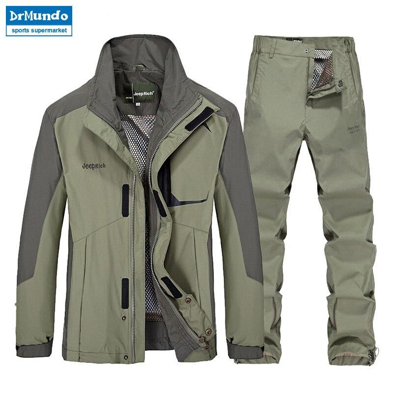 Outdoor hiking jacket suits waterproof men plus size Windbreaker quick drying women fishing jacket suits Mountaineer