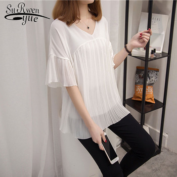 48d2efbc27a 2018 модная женская блузка плюс размер женские блузки черные повседневные  шифоновые женские рубашки с коротким рукавом женские блузки женст.