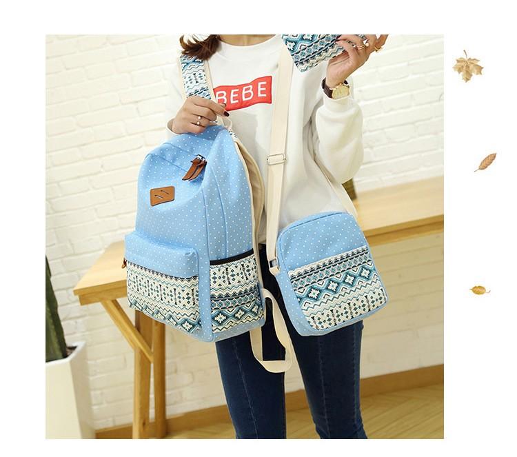 Mochila de lona de alta calidad de estilo étnico para mujeres / hombres, mochilas escolares para niñas / niños, mochilas (Conjunto de 3 unds)
