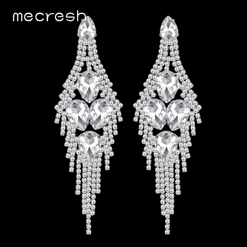 Mecresh Spring Wedding Long Tassel Earrings Geometric Crystal Bridal Big Dangle Earrings Jewelry for Christmas New Year MEH1002 цена 2017