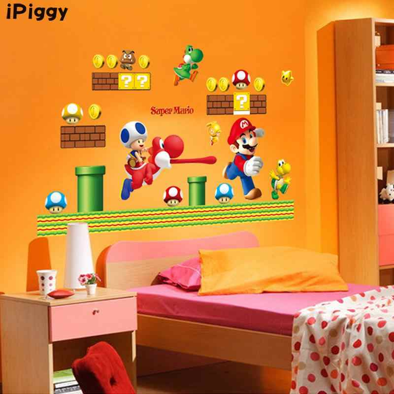 Ipiggy Super Mario Bros Wall Stickers for Kids rooms Baby Room Home  Decoration WallPaper Poster Art Cartoon Wall Decals