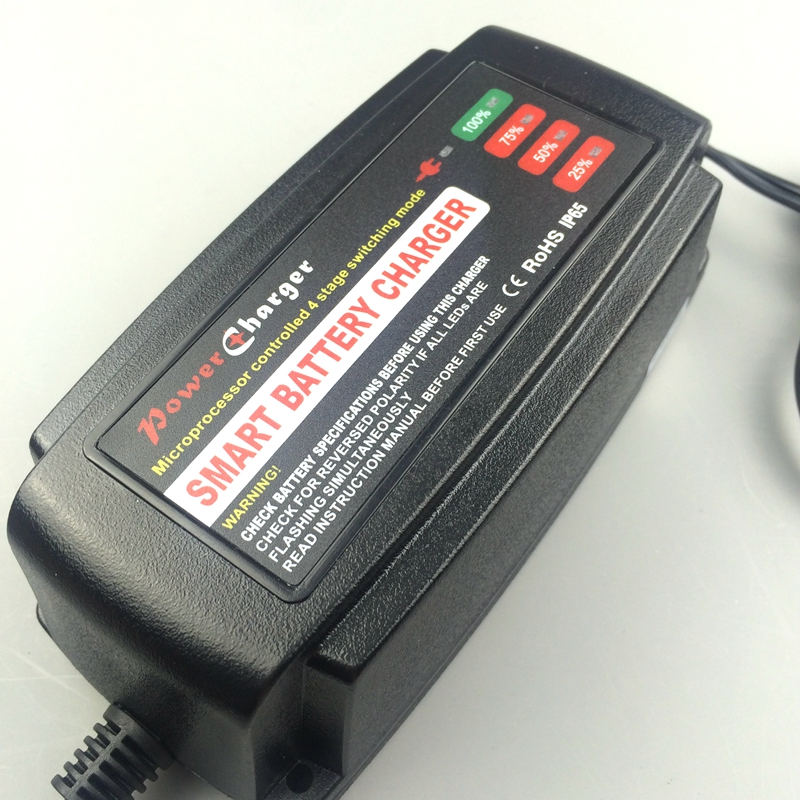 Smart 24V 3A Car <font><b>Battery</b></font> Charger 4-Stage Maintainer & Desulfator for Scooter Ebike Motorcycle AGM GEL WET <font><b>Batteries</b></font> 10-40AH