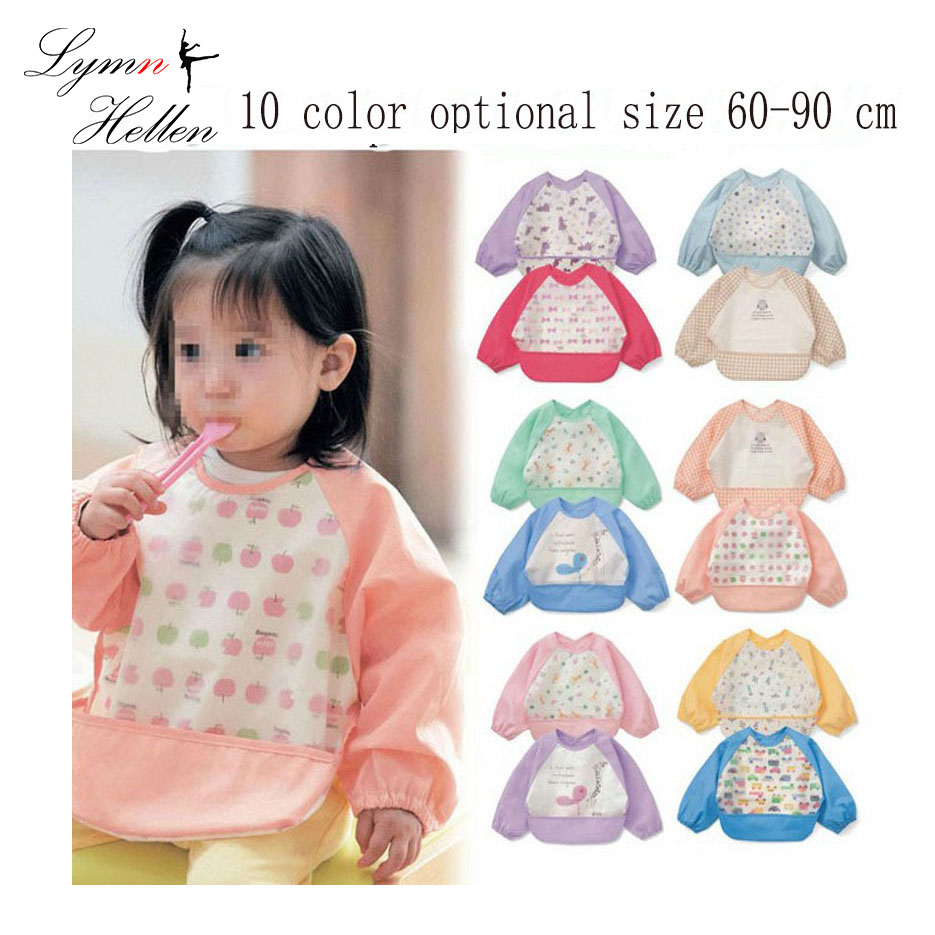 hot baby rice apron food pocket long sleeve anti-clothing waterproof bib cloth meal draw clothing apron cover butterfly car Kid