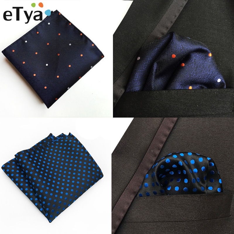 ETya Fashion Men's Handkerchief Dot Embroidery Polyester Business Pocket Square Chest Handkerchiefs Towel 25*25CM