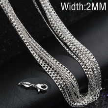 New Hot Sale! 1pcs/lot Fashion Silver Necklace Chain,2mm 925 Jewelry Silver Plated Curb Chain Necklace 16″-30″,pick length! X190