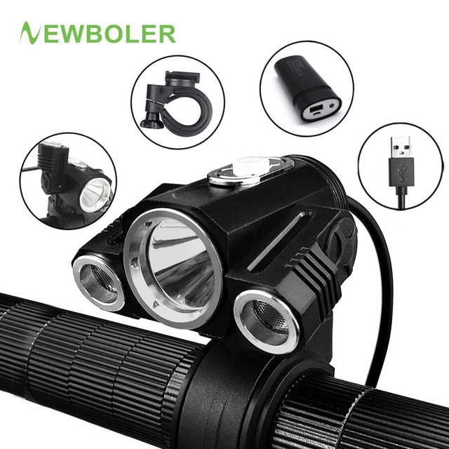 NEWBOLER Bicycle Front Light Adjust Angle 3X XML T6 LED With USB Rechargeable Power Bank Cycling Lamp Bike Accessories