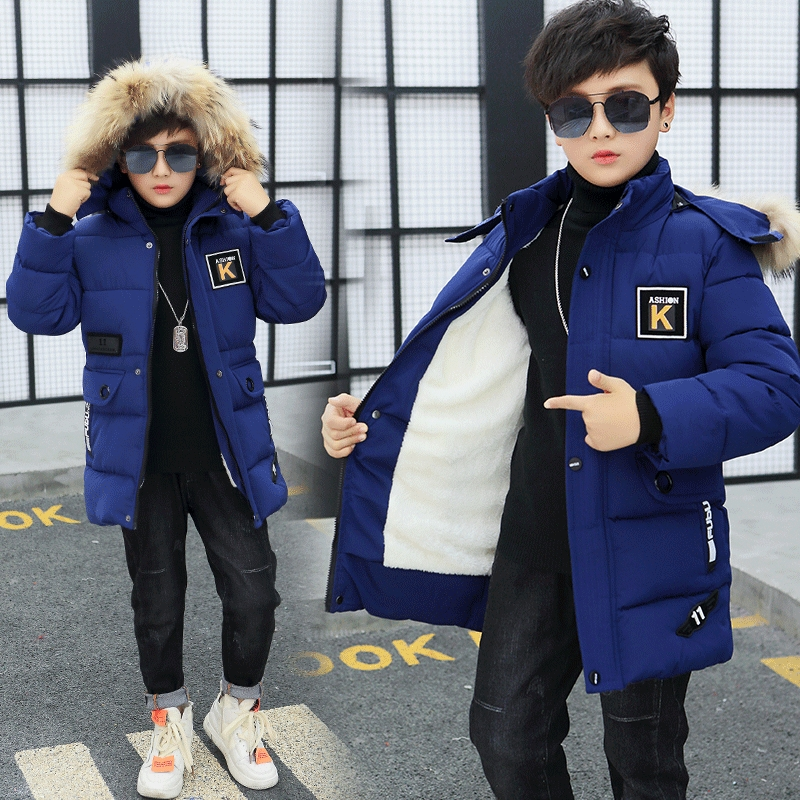Boy Jacket 12 Children's Clothing 13 Boys 14 Winter Clothing 15 Jacket 16 Thick Cotton Thickening 10 Children -30 Degrees(China)