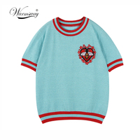 Warmsway Bee Pattern Flowers Appliques Crop Top T Shirt Pullovers Knitwear Summer Top 2018 Korean Stripe Design Clothes B 103