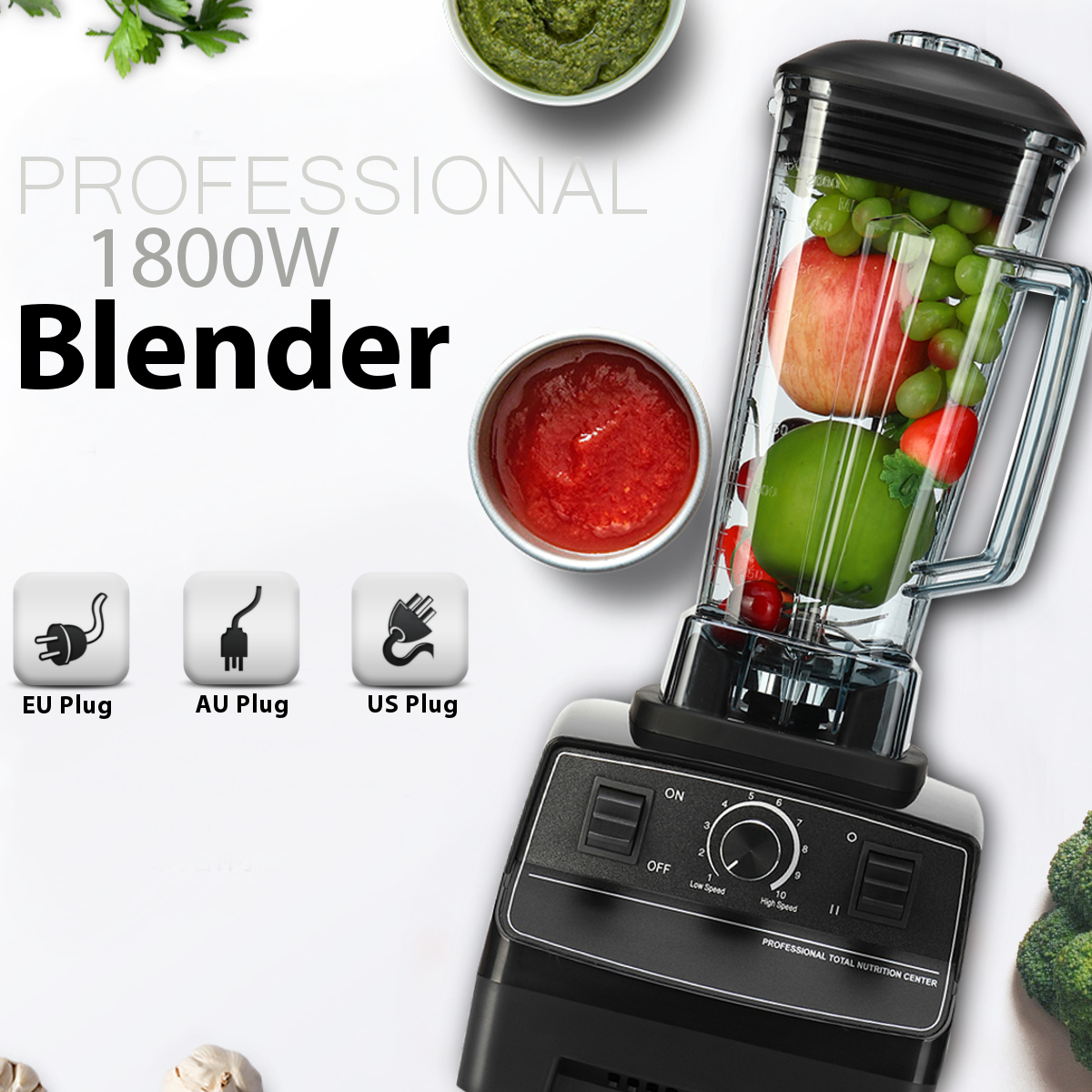 G5200 1800W Rpm 36000-peak 2L Mixer Blenders EU/US/AU 6 Blades Create Friction Heat Stainless Steel Overcurrent Protection стоимость