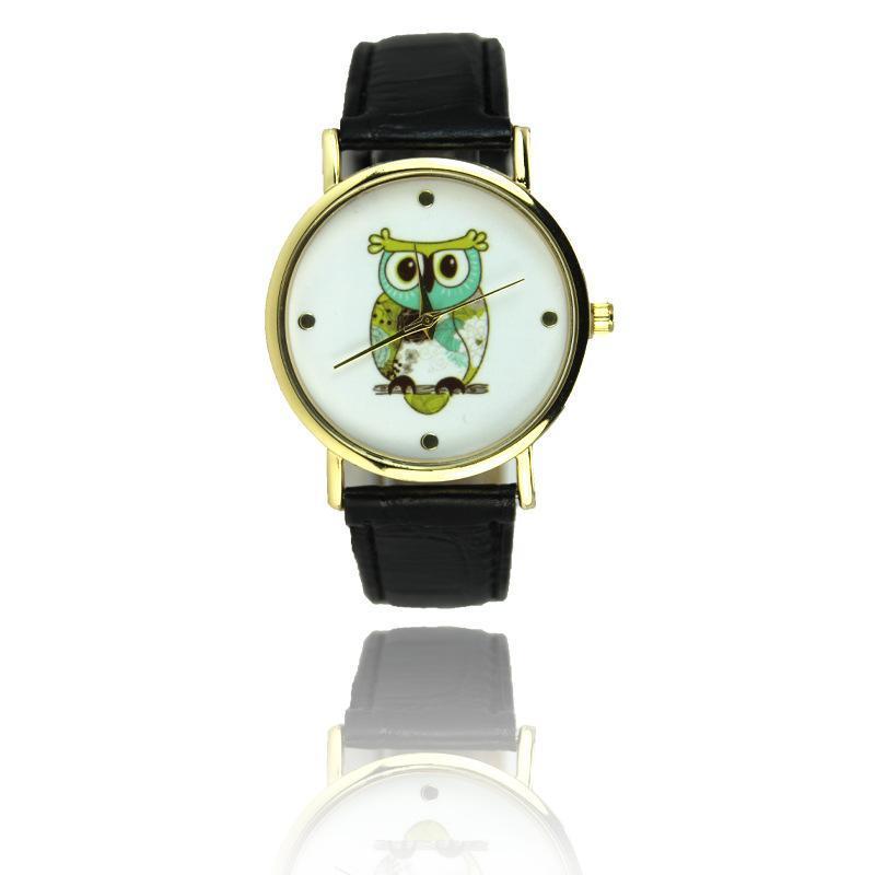 New Fashion Cartoon Casual Wrist Watch Quartz Watches For Women Mens Gift Owl Style Dress Gold Watch Women Clock