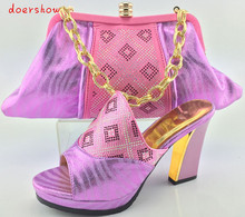 doershow Italian Style Ladies Matching Shoe And Bag Set Fashion Woman High Heels Shoes And Bag
