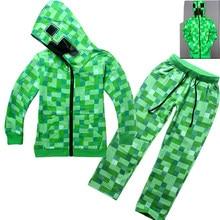 82f7527ed Dziecko chłopców Minecraft Creeper kostium urodziny Party odzież śmieszne  zielony bluza z kapturem bluza garnitur dla