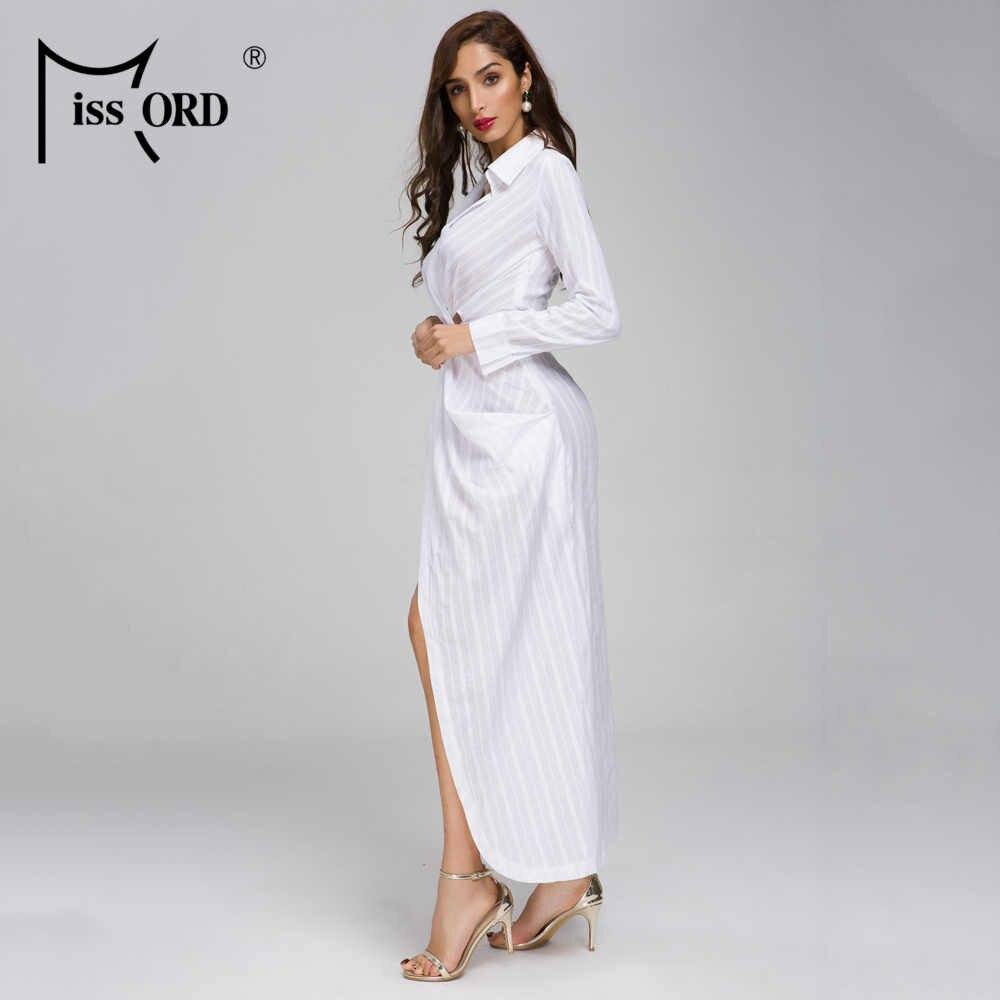 Missord/2019 женские летние сексуальные платья с глубоким v-образным вырезом и длинными рукавами, однотонные Элегантные платья длиной до щиколотки FT19286