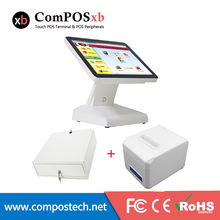 point of sale pos system double display pos terminal dual screen all in one epos system with printer cash box