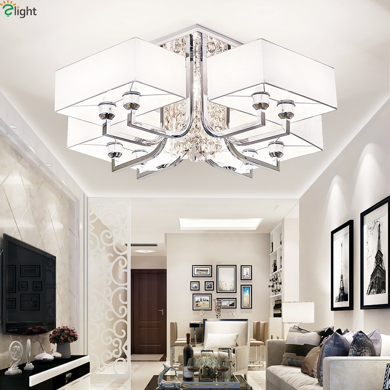 Modern lustre crystal led ceiling lights novelty chrome metal living room led ceiling lamp bedroom led ceiling light fixtures in ceiling lights from lights