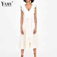 elegant ruffless white linen dress women sleeveless backless bow midi dress Summer pocket Casual dress 2018 korean beach vestido