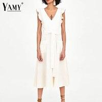 elegant ruffless white linen dress women sleeveless backless bow midi dress Summer pocket Casual dress 2018 korean beach vestido