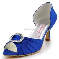 HP1630 Shoes Woman Peep Toe Mid Heel Blue Rhinestones Satin Wedding Bridal Shoes Evening Party Prom Pumps White Ivory Burgundy