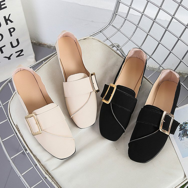 New Fashion Flat Shoes PU Leather Lightweight Women Spring/Summer Breathable Casual Mules Shoes Shallow Mouth Soft Sneakers
