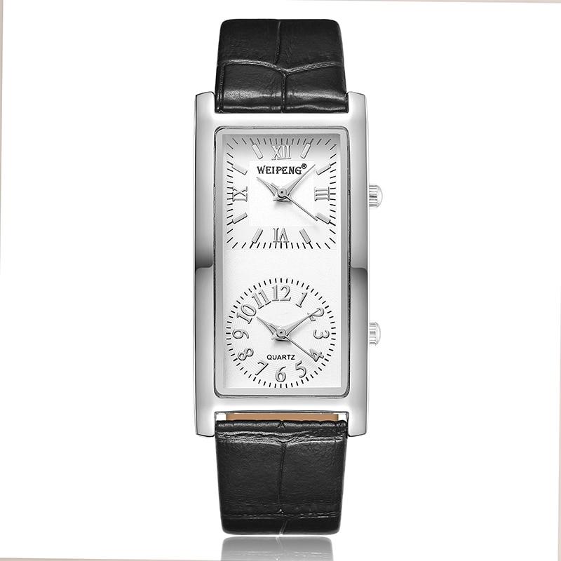 Fashion Mens Women Watch Creative Double Dial Quartz Leather Rectangular Watches For Men Elegant Minimalist Couple Wrist Watch
