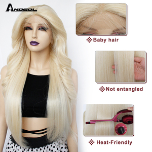 Image 3 - Anogol Brown Long Body Wave Synthetic Lace Front Wigs Futura Fiber  Gold Blonde For Women Heat Resistant Black Pre Plucked