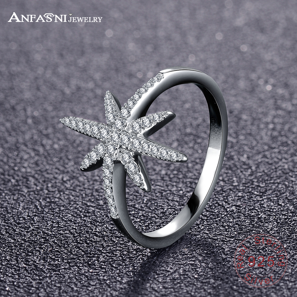 ANFASNI Popular Party 925 Sterling Silver Ring for Women Fine Jewelry Classic Temperament Exquisite Stars Ring 3 Colors CGSRI07